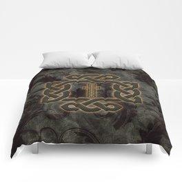 Decorative celtic knot, vintage design Comforters