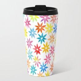Vibrant Colors Floral Pattern Travel Mug