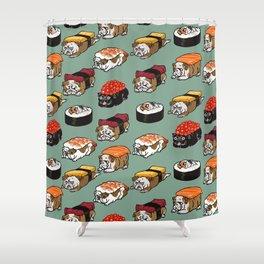 Sushi English Bulldog Shower Curtain