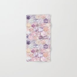 Rose Quartz and Amethyst Stone and Marble Hexagon Tiles Hand & Bath Towel