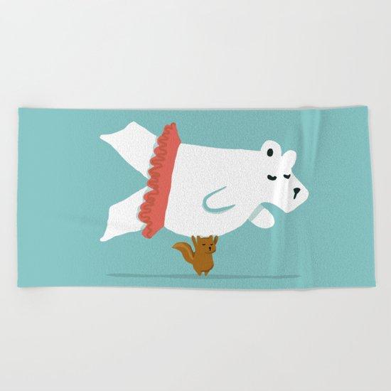 You Lift Me Up - Polar bear doing ballet Beach Towel
