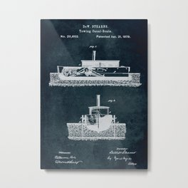 1879 Towing canal-boats patent Metal Print