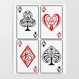 Ace cards pattern Poster