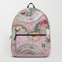Magical Cat Plates on Pink Lace Wall Backpack