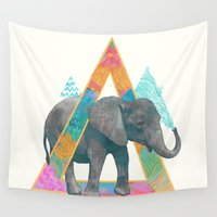 baby elephant Wall Tapestries featuring elephant  by Laura Graves