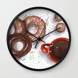 Donuts and Coffee For Me, Please! Wall Clock