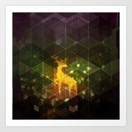 Deer in the woods Art Print