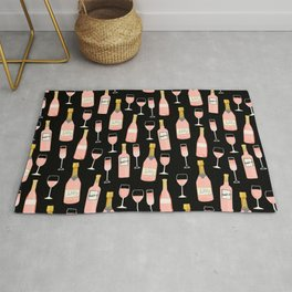 Rose champagne wine food fight apparel and gifts black Rug