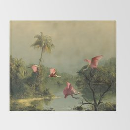 Spoonbills in the Mist Throw Blanket
