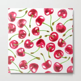 Watercolor cherries pattern Metal Print