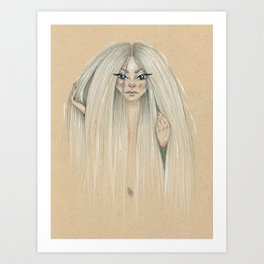 Messy hair dont care Art Print