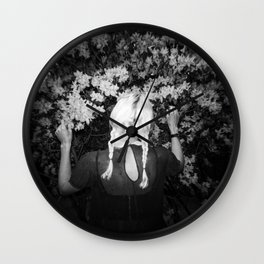 Truly Madly Deeply Holga double exposure of girl with flowers Wall Clock