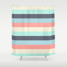 Bright Happy Stripe Pattern Modern Simple Mid Century Shower Curtain