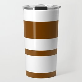 Mixed Horizontal Stripes - White and Chocolate Brown Travel Mug