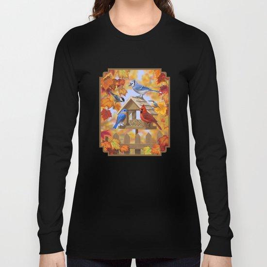 Autumn Bird Feeder Gathering Long Sleeve T-shirt