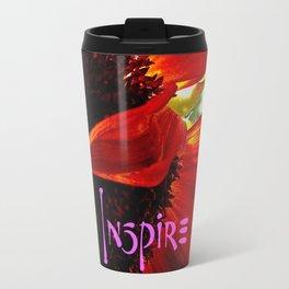 """""""Inspire"""" quote stylish, red orange daisy close-up photo Travel Mug"""