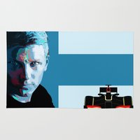 f1 Area & Throw Rugs featuring Kimi Raikkonen  by milanova