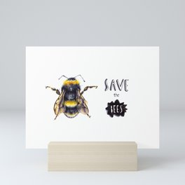 Save the bees Mini Art Print