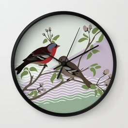 loving chaffinches Wall Clock
