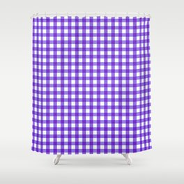 Gingham Print - Purple Shower Curtain