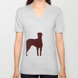 Doberman Dog  with dropping ears Silhouette Unisex V-Neck