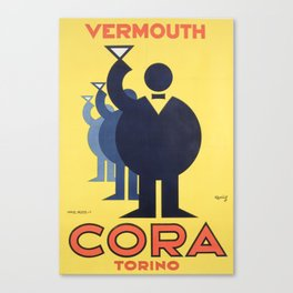 Vintage Advertising Poster - Cora Vermouth Torino Canvas Print