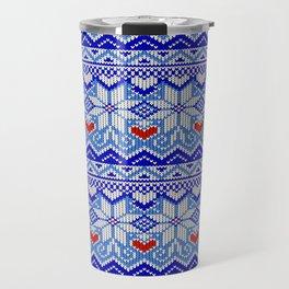 Scandinavian Christmas with nordic stars and romantic hearts Travel Mug