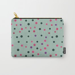 Neon pink black purple polka dots pattern Carry-All Pouch