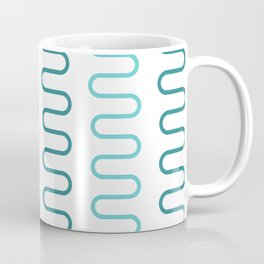 Green Curved Abstract Lines Pattern Coffee Mug