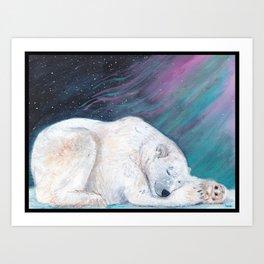 Polar bear nap time Art Print