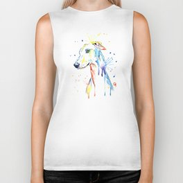 Greyhound Colorful Watercolor Pet Portrait Painting Biker Tank