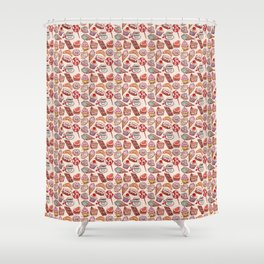 Hand drawn confectionery croissant Cupcake candy ice cream cake donut and coffee Shower Curtain