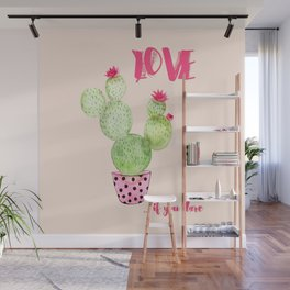 Love if you dare - Cactus watercolor illustration Wall Mural