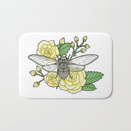 Cicada with Roses Bath Mat