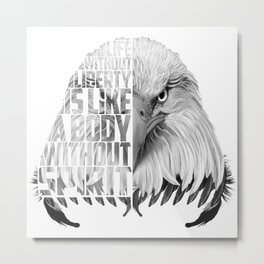 Eagle Print Quote Text, Eagle Liberty Quote Metal Print