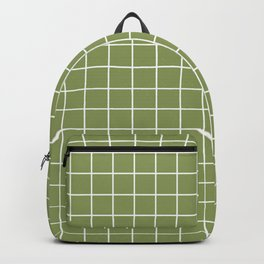 Turtle green - green color - White Lines Grid Pattern Backpack