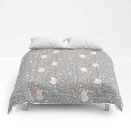 Sleeping Fox - grey pattern design Comforters