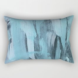 Blue Aqua Abstract Painting With Broad Brush Strokes Rectangular Pillow