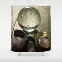 crystals Shower Curtains featuring Crystals by VanessaValkyria