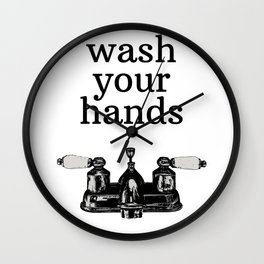 Wash Your Hands | Modern Farmhouse Rustic Vintage Decor, Bathroom or Kitchen Wall Clock