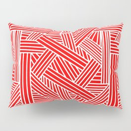 Sketchy Abstract (White & Red Pattern) Pillow Sham