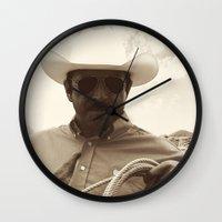 cowboy Wall Clocks featuring Cowboy by DistinctyDesign