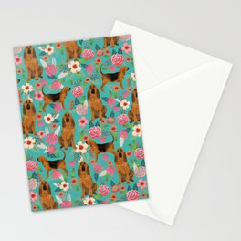 Bloodhound floral dog breed dog pattern pet friendly pet portraits custom dog gifts mint Stationery Cards