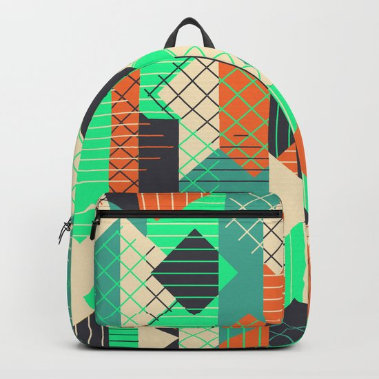 Squares Grids Stripes II (Modern Retro Color Palette) Backpack
