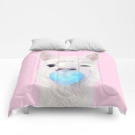 BUBBLE GUM LLAMA Comforters