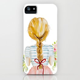 Blonde Girl with Flowers iPhone Case