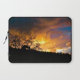 Sunset Golden Clouds Silhouette Bare Trees Laptop Sleeve