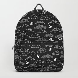 Black Doodle clouds and swallows. Cloudscape pattern with birds. Backpack