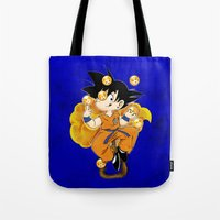 goku Tote Bags featuring Goku by Ana del Valle Store