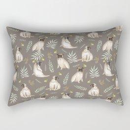Pugs and butterflies. Brown pattern Rectangular Pillow